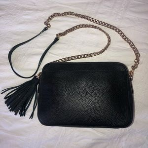 Nordstrom Black Leather Chain Crossbody Tassel
